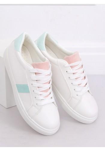 Dámské klasické tenisky s barevnými doplňky v bílo-růžové barvě