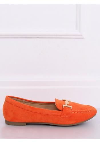 Semišové dámské mokasíny oranžové barvy se zlatou ozdobou