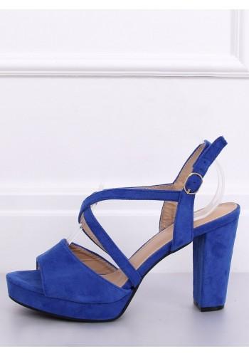Modré semišové sandály na podpatku pro dámy