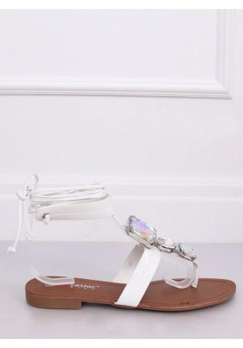 Dámské vázané sandály s kameny v bílé barvě