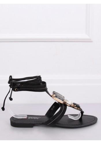 Vázané dámské sandály černé barvy s kameny