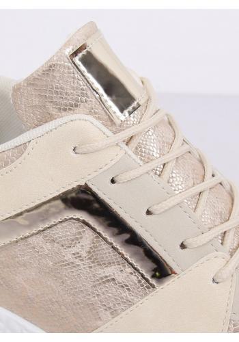Béžové sportovní Sneakersy s klínovým podpatkem pro dámy
