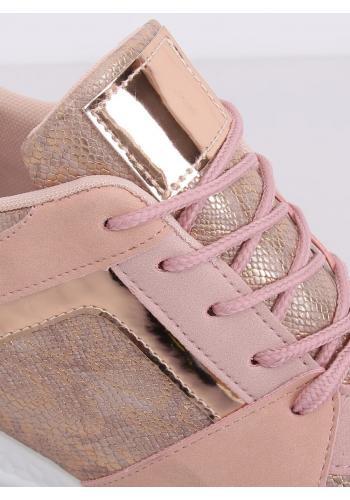 Dámské sportovní Sneakersy s klínovým podpatkem v růžové barvě