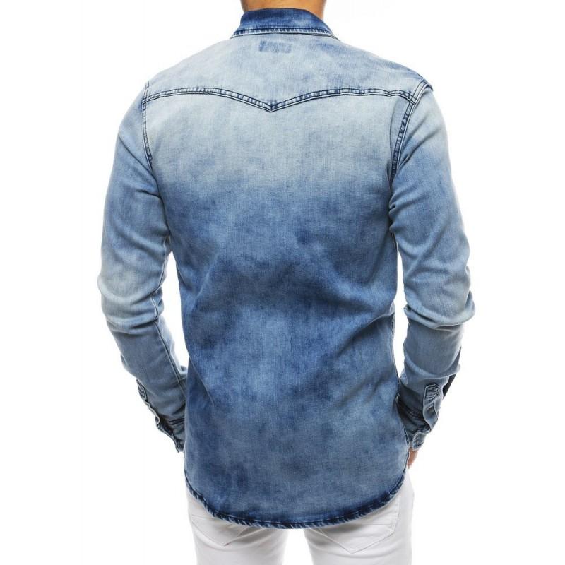 Riflová pánská košile světle modré barvy s dlouhým rukávem