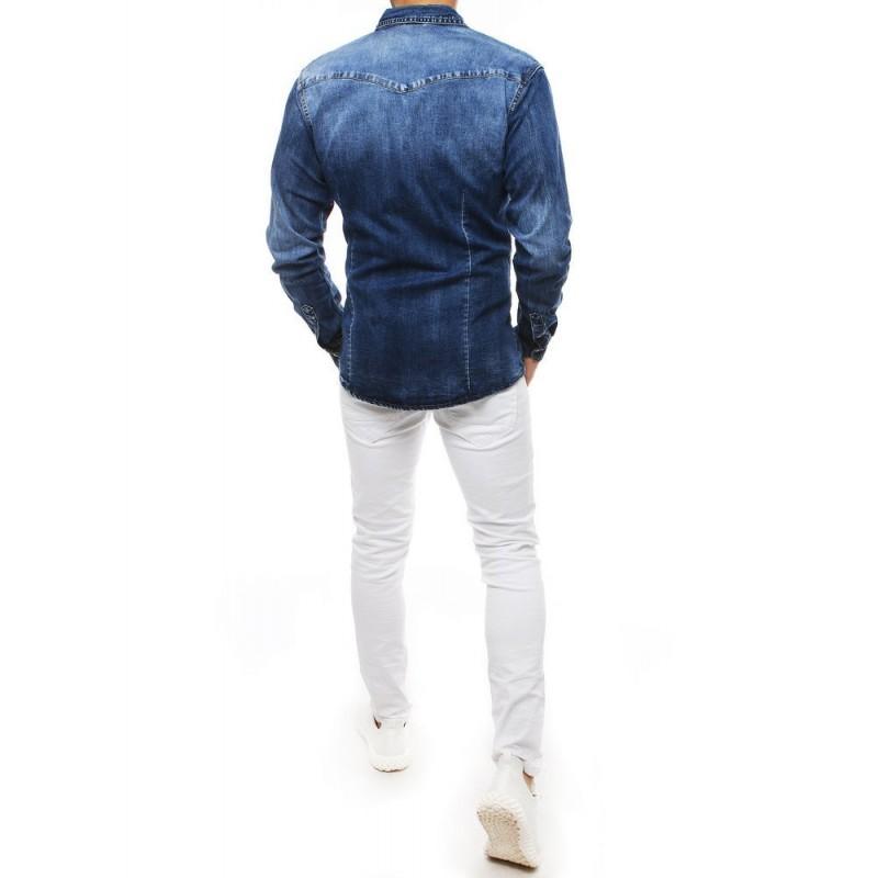 Modrá riflová košile s dlouhým rukávem pro pány
