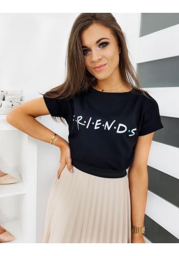 Dámské stylové tričko s nápisem FRIENDS v černé barvě