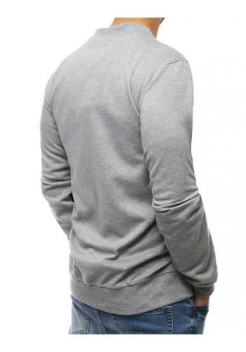 Módní pánská mikina světle šedé barvy s kontrastními vložkami