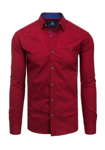 Pánská vzorovaná košile s dlouhým rukávem v bordové barvě
