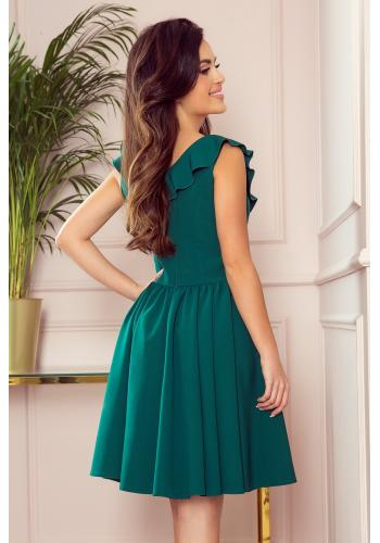 Rozšířené dámské šaty zelené barvy s volány na výstřihu