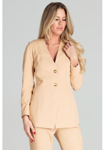 Béžové prodloužené sako se dvěma knoflíky pro dámy