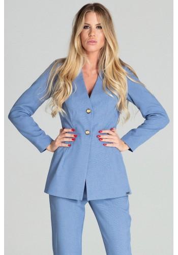 Prodloužené dámské sako modré barvy se dvěma knoflíky