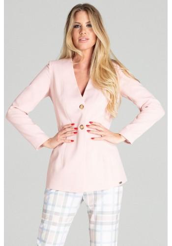 Dámské prodloužené sako se dvěma knoflíky v růžové barvě