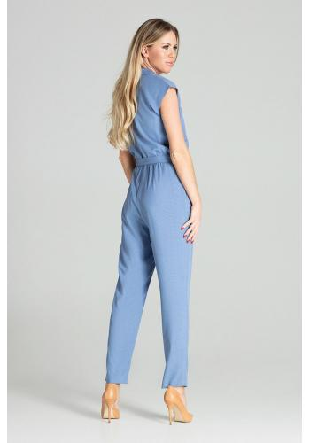 Modrý stylový overal s páskem pro dámy