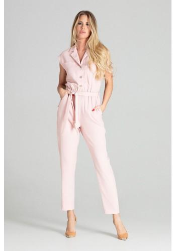 Stylový dámský overal růžové barvy s páskem