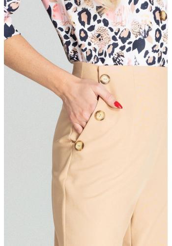 Dámské elegantní kalhoty s vysokým pasem v béžové barvě