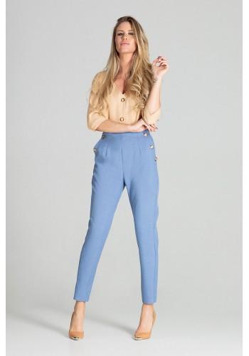 Modré elegantní kalhoty s vysokým pasem pro dámy