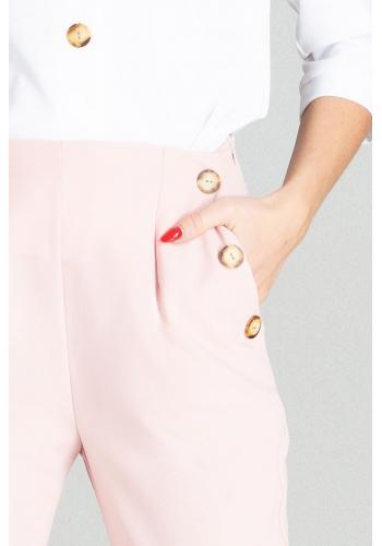Elegantní dámské kalhoty růžové barvy s vysokým pasem