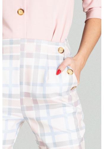 Dámské elegantní kalhoty s vysokým pasem a s barevným vzorem