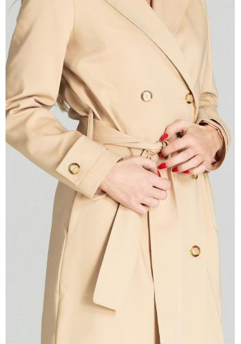 Dlouhý dámský plášť béžové barvy s páskem