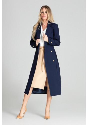 Tmavě modrý dlouhý plášť s páskem pro dámy