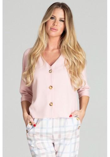 Krátká dámská halenka růžové barvy s 3/4 rukávem