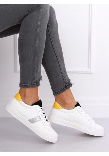 Klasické dámské tenisky bílo-černé barvy s barevnými doplňky