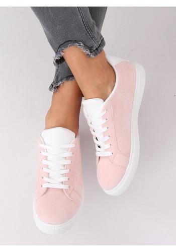 Růžové semišové tenisky s bílými doplňky pro dámy