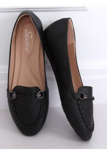 Dámské elegantní mokasíny s ozdobou v černé barvě