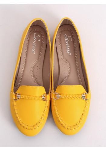 Žluté elegantní mokasíny s ozdobou pro dámy