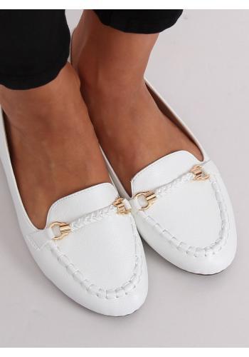 Elegantní dámské mokasíny bílé barvy s ozdobou