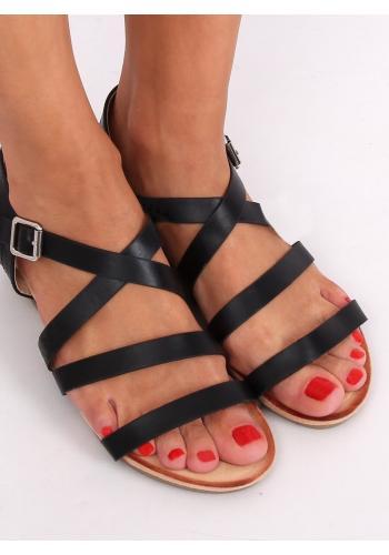 Módní dámské sandály černé barvy s nízkým klínovým podpatkem