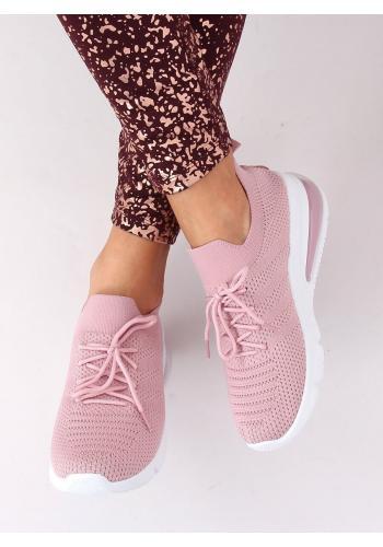 Sportovní dámské tenisky růžové barvy na vysoké podrážce