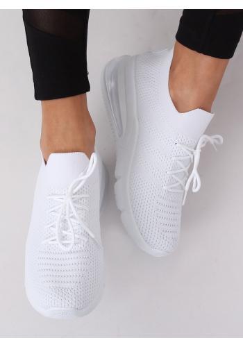 Dámské sportovní tenisky na vysoké podrážce v bílé barvě
