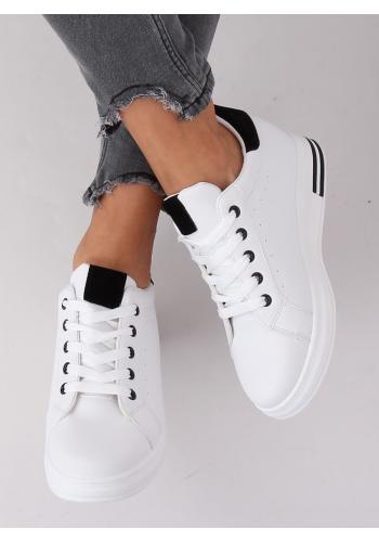Bílo-černé módní tenisky na skrytém podpatku pro dámy