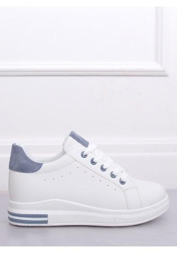Módní dámské tenisky bílo-modré barvy na skrytém podpatku