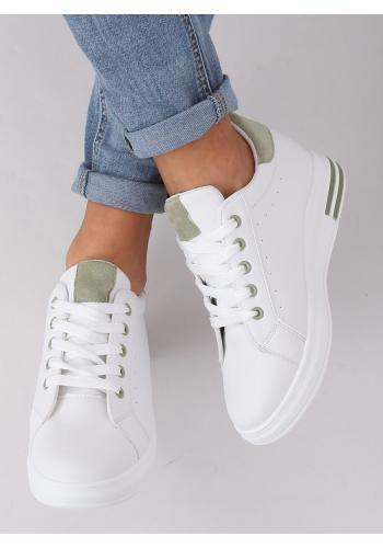 Bílo-zelené módní tenisky na skrytém podpatku pro dámy