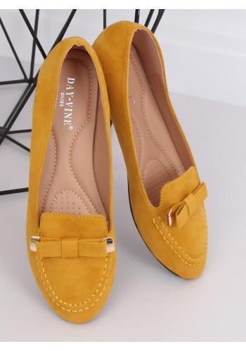 Semišové dámské mokasíny žluté barvy s mašlí