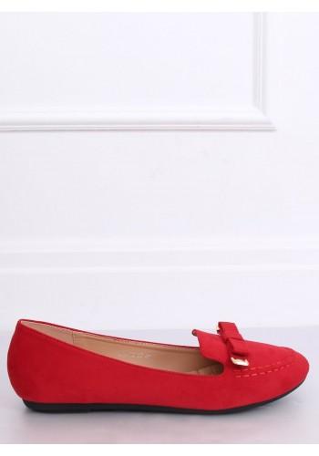 Červené semišové mokasíny s mašlí pro dámy