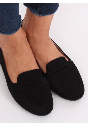 Semišové dámské mokasíny černé barvy