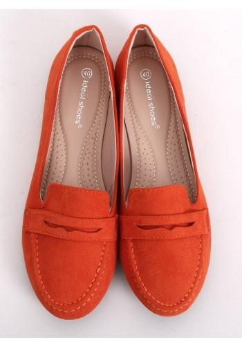 Dámské semišové mokasíny v oranžové barvě