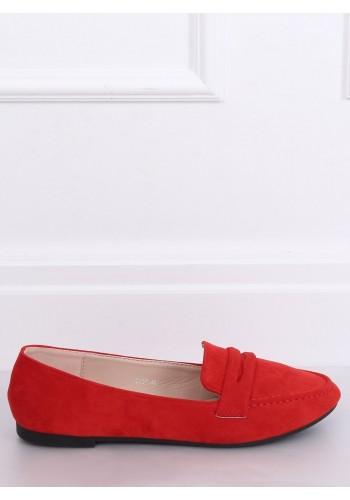 Červené semišové mokasíny pro dámy