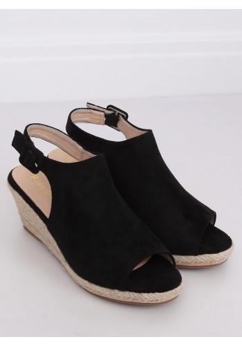 Dámské semišové sandály na klínovém podpatku v černé barvě