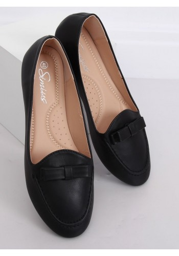 Černé elegantní mokasíny s mašlí pro dámy