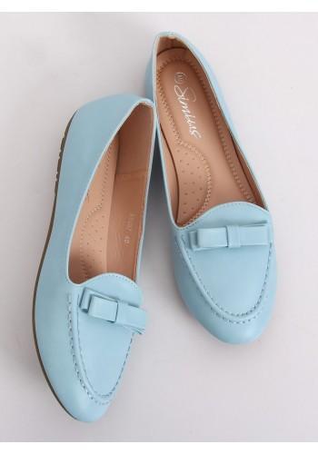 Elegantní dámské mokasíny modré barvy s mašlí