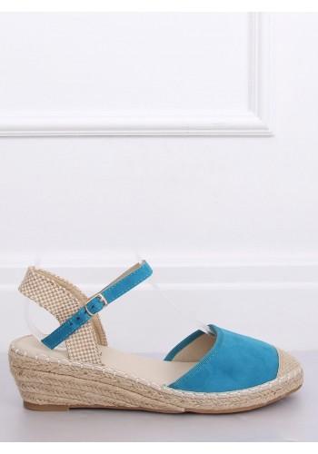 Letní dámské espadrilky světle modré barvy na klínovém podpatku