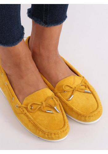 Dámské semišové mokasíny s mašlí ve žluté barvě
