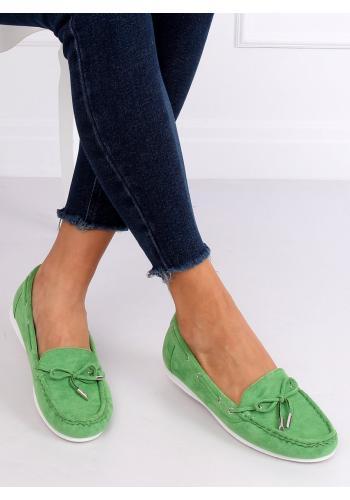 Zelené semišové mokasíny s mašlí pro dámy