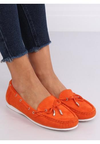 Semišové dámské mokasíny oranžové barvy s mašlí