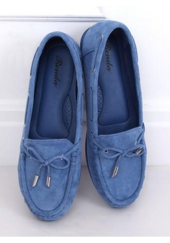 Dámské semišové mokasíny s mašlí v modré barvě