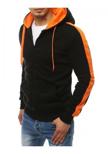 Černo-oranžová sportovní mikina s kapucí pro pány